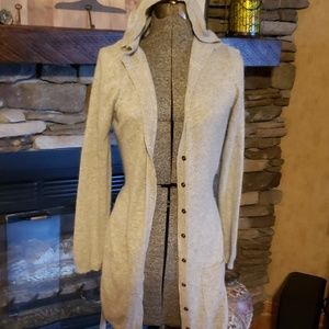 BCBG Maxazria long hooded sweater